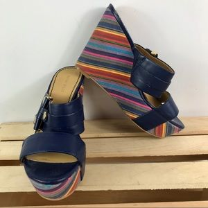 Nine West two strap sandal funky colored wedges